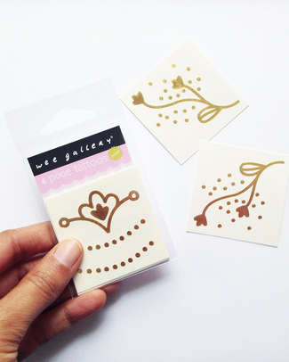 Wee Gallery Gold Temporary Tattoos - Pixie (12 pieces) non-toxic and safe Party Favours