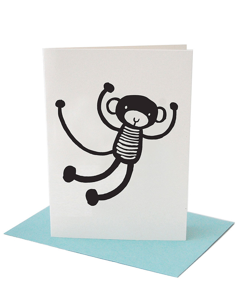 Wee Gallery Monkey Greeting Card Envelope Unisex Bambini