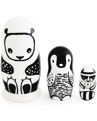 Wee Gallery Russian Nesting Dolls - Black & White Animals (Set of 3-Height 12 cm) Wooden Stacking Toys