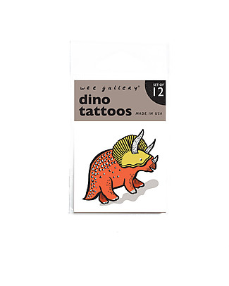 Wee Gallery Temporary Tattoos - Dino (12 pieces) non-toxic and safe Tattoos