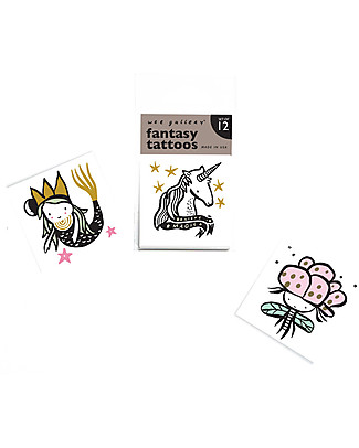 Wee Gallery Temporary Tattoos - Fantasy (12 pieces) non-toxic and safe Tattoos