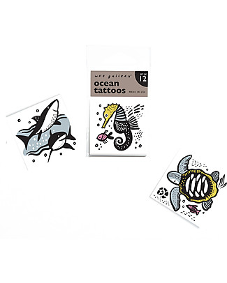 Wee Gallery Temporary Tattoos - Ocean (12 pieces) non-toxic and safe Tattoos