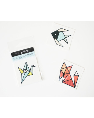 Wee Gallery Temporary Tattoos - Origami (12 pieces) non-toxic and safe Tattoos