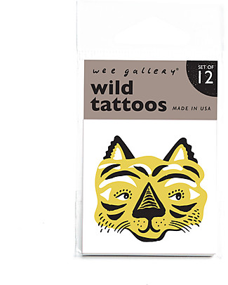 Wee Gallery Temporary Tattoos - Wild (12 pieces) non-toxic and safe Tattoos