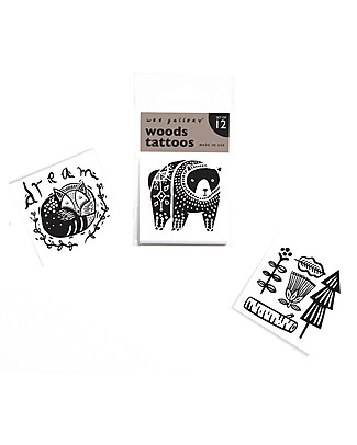 Wee Gallery Temporary Tattoos - Woods (12 pieces) non-toxic and safe Tattoos