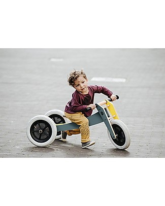 Wishbone Design Studio Wishbone Bike 3 in 1, Grey and Yellow - Grows with your Child! From 1 to 5 Years!  Balance Bikes