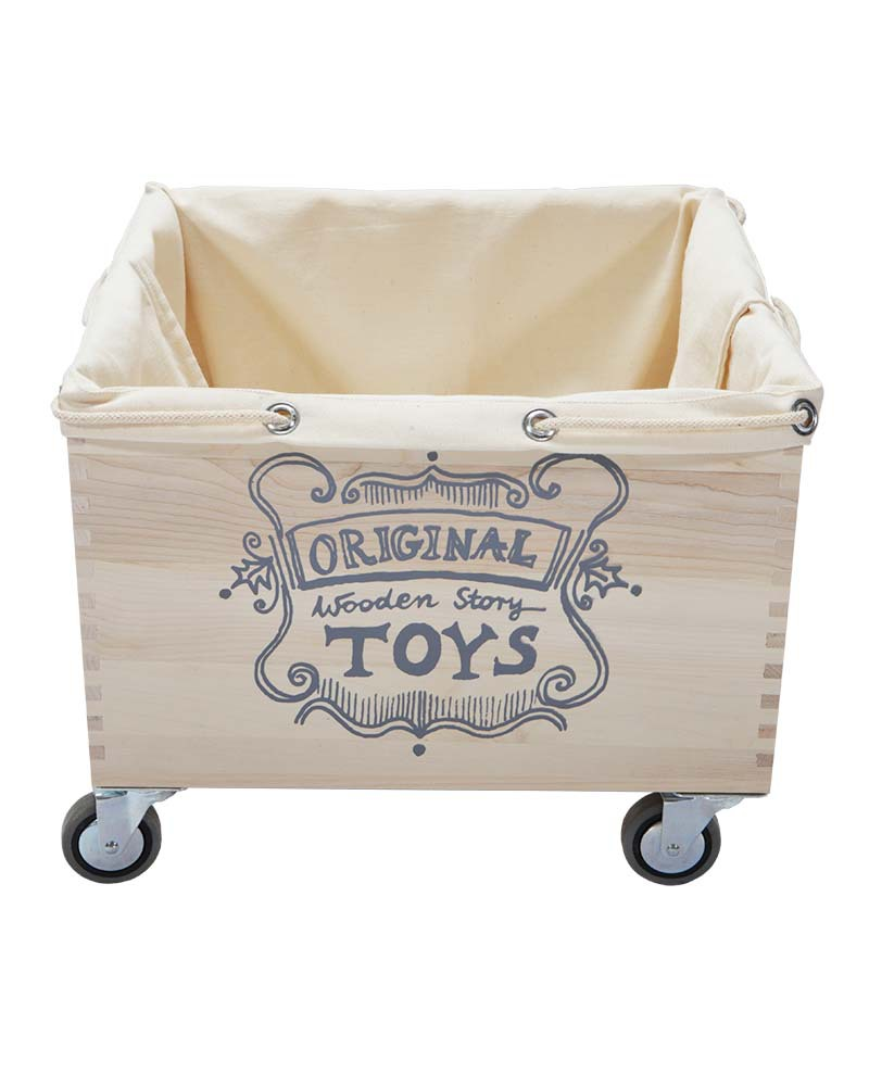 Wooden Story Wooden Storage Box On Wheels + Thick Cotton Sack Toy Storage  Boxes