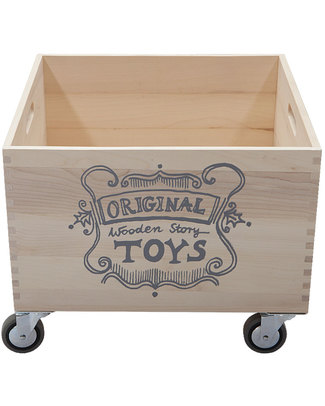 Wooden Story Wooden Storage Box on Wheels (without sack) Toy Storage Boxes