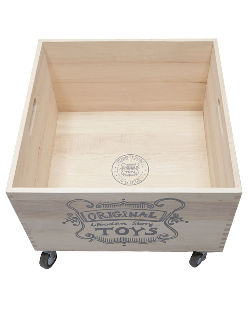 wooden story wooden storage box on wheels without sack unisex bambini. Black Bedroom Furniture Sets. Home Design Ideas