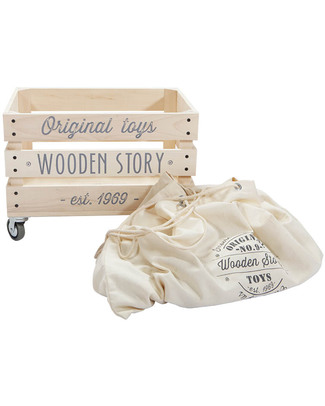 Wooden Story Wooden Storage Crate on Wheels + Thick cotton sack Toy Storage Boxes