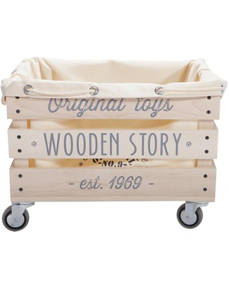 Wooden Story Wooden Storage Crate on Wheels (without sack) Toy Storage Boxes
