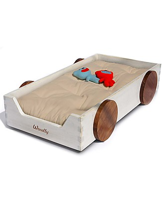 Woodly Montessori Bed with Decorative Wheels BIG Finger Joints - Shabby White - Made in Italy Montessori Beds