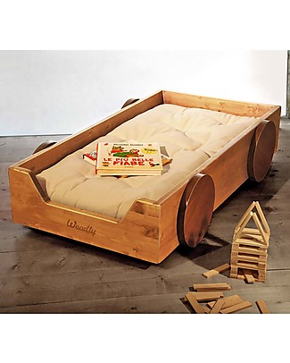 Woodly Montessori Bed with Decorative Wheels BIG Invisible Joints - Honey - Made in Italy Montessori Beds