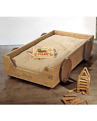 Woodly Montessori Bed with Decorative Wheels SMALL Invisible Joints - Natural - Made in Italy Montessori Beds