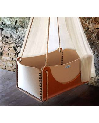 Woodly Roll Suspension Crib Wool and Wood - Brown - Made in Italy Cribs & Moses Baskets