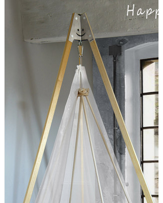 Woodly Roll Suspension Crib Wool and Wood - Made in Italy Cribs & Moses Baskets