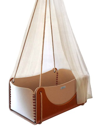 Woodly Roll Suspension Crib Wool and Wood - Red - Made in Italy Cribs & Moses Baskets