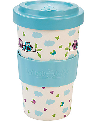 Woodway Bamboo cup, Owls Blue - 400ml null