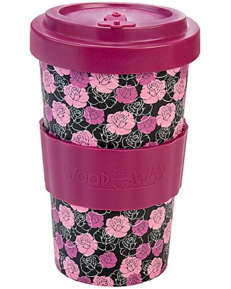 Woodway Bamboo cup, Roses Purple - 500ml Cups & Beakers