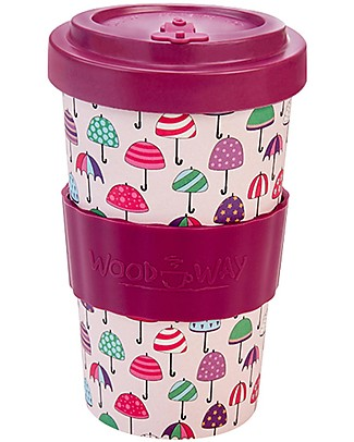Woodway Bamboo cup, Umbrellas Purple - 500ml Cups & Beakers