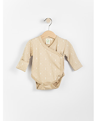 Wooly Organic Long Sleeved Bodysuit, Brown with ecru print – 100% organic cotton Long Sleeves Bodies