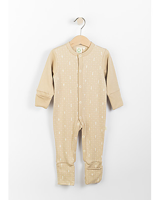 Wooly Organic Long Sleeved Romper, Brown with ecru print – 100% organic cotton Babygrows