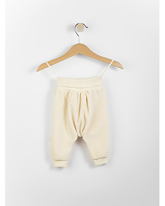 Wooly Organic Velour Baby Pants, Ecru - 100% organic cotton Trousers