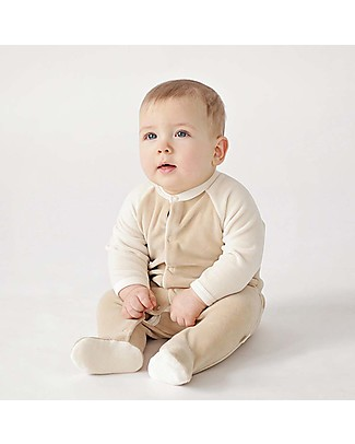 Wooly Organic Velour Long Sleeved Romper, Brown and Ecru – 100% organic cotton Babygrows