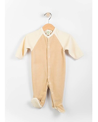 Wooly Organic Velour Long Sleeved Romper, Brown and Ecru - 100% organic cotton Babygrows