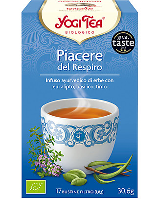 Yogi Tea Breathe Deep , Ayurvedic Blend with Eucaliptus, Basil, Thyme - 17 teabags Infusions