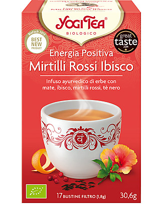 Yogi Tea Positive Energy, Ayurvedic Blend with Mate, Hibiscus, Cranberry, Black Tea - 17 teabags Infusions