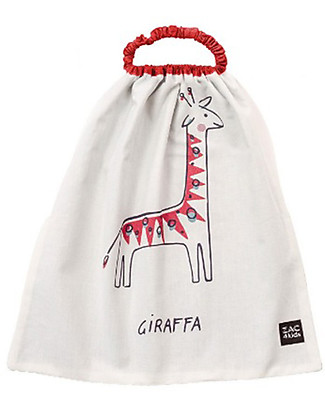 Zac 4 Kids Bib with Elastic Neck Palio Collection, Red with Giraffe - 100% Cotton (Perfect for Nursery) Pullover Bibs
