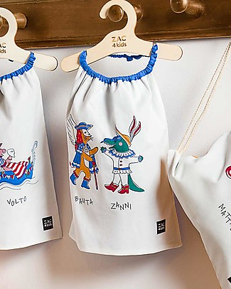 Zac 4 Kids Bib with Elastic Neck - Venice Collection, Cobalt/Bauta and Zanni - 100% Cotton (Perfect for Nursery) Pullover Bibs