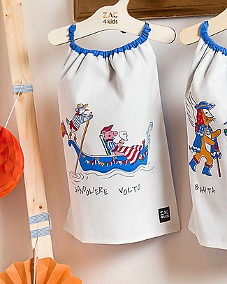 Zac 4 Kids Bib with Elastic Neck - Venice Collection, Cobalt/Gondolere e Volto - 100% Cotton (Perfect for Nursery) Pullover Bibs