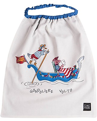 Zac 4 Kids Bib with Elastic Neck - Venice Collection, Cobalt/Gondolere e Volto - 100% Cotton (Perfect for Nursery) Pullover Bibs