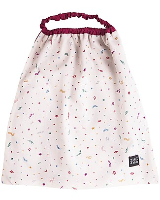 Zac 4 Kids Bib with Elastic Neck - Venice Collection, Magenta/Confetti - 100% Cotton (Perfect for Nursery) Pullover Bibs
