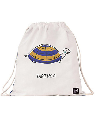 Zac 4 Kids Drawstring Bag Portrait Palio Collection, Blue with Turtle - Perfect for pre-schoolers! Small Backpacks