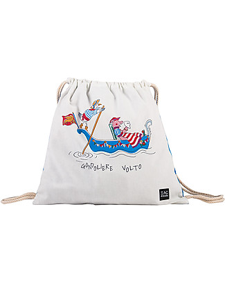Zac 4 Kids Drawstring Bag Portrait - Venice Collection, Cobalt/Gondoliere and Volto - Perfect for pre-schoolers! Small Backpacks