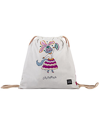 Zac 4 Kids Drawstring Bag Portrait - Venice Collection, Magenta/Colombina - Perfect for pre-schoolers! Small Backpacks