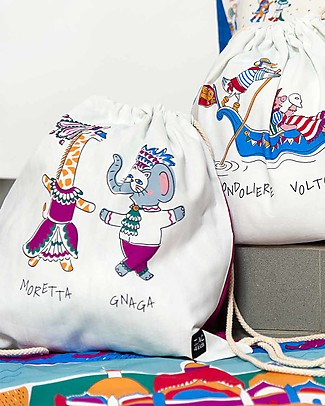 Zac 4 Kids Drawstring Bag Portrait - Venice Collection, Magenta/Moretta and Gnana - Perfect for pre-schoolers! Small Backpacks