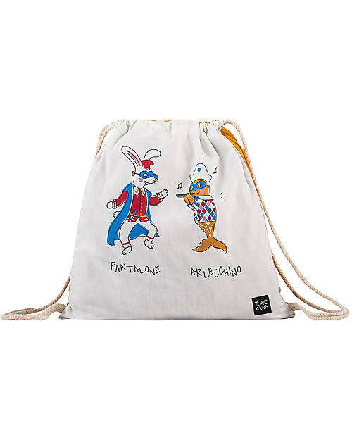 Zac 4 Kids Drawstring Bag Portrait - Venice Collection, Saffron/Pantalone and Arlecchino - Perfect for pre-schoolers! Small Backpacks