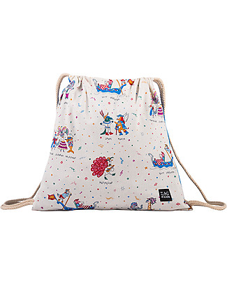Zac 4 Kids Drawstring Bag - Venice Collection, Cobalt/Mask - Perfect for pre-schoolers! null