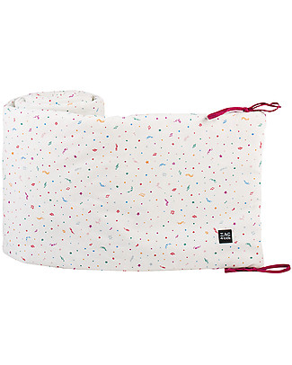 Zac 4 Kids Padded  Cot Bed Bumper - Venice Collection, Confetti - 100% Cotton  Bumpers