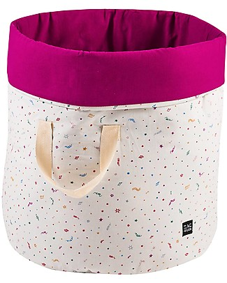 Zac 4 Kids Toy Bag Venice Collection, Magenta/Confetti - Made in Italy  - 100% Cotton Toy Storage Boxes