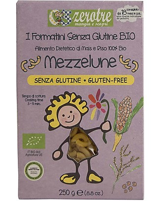 Zero Tre Organic Corn and Rice Mezzelune, Gluten Free - 250 gr Baby Cereal