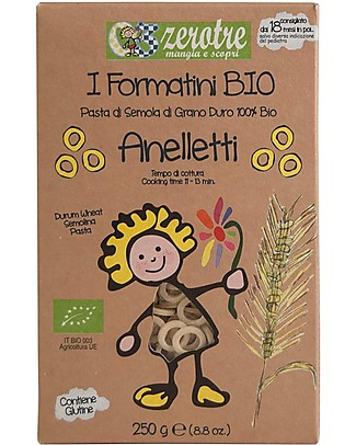 Zero Tre Organic Durum Wheat Anelletti - 250gr Baby Cereal