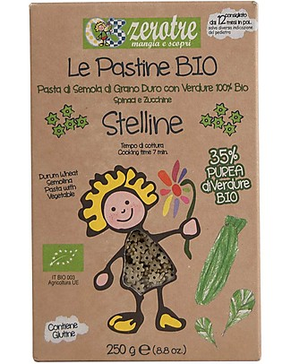 Zero Tre Organic Stelline Mixed with Mashed Spinach and Courgettes - 250gr Baby Cereal
