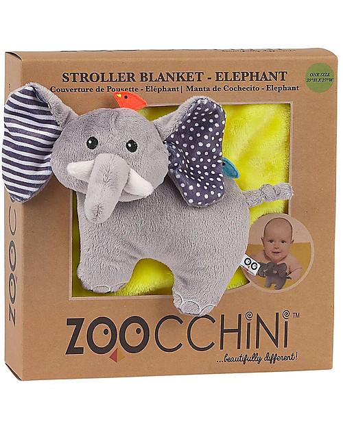 Zoocchini 2-in-1 Buddy Stroller Blanket, Elephant - Super soft pile, 69 x 100 cm Blankets