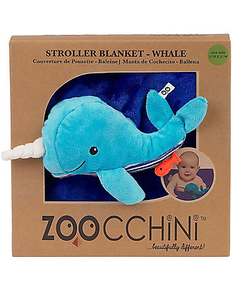 Zoocchini 2-in-1 Buddy Stroller Blanket, Whale – Super soft pile, 69 x 100 cm Blankets