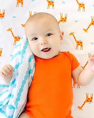 Zoocchini 2 Pack Flannel Baby Blankets 100 x 100 cm, Giraffe/Aqua – 100% cotton Blankets